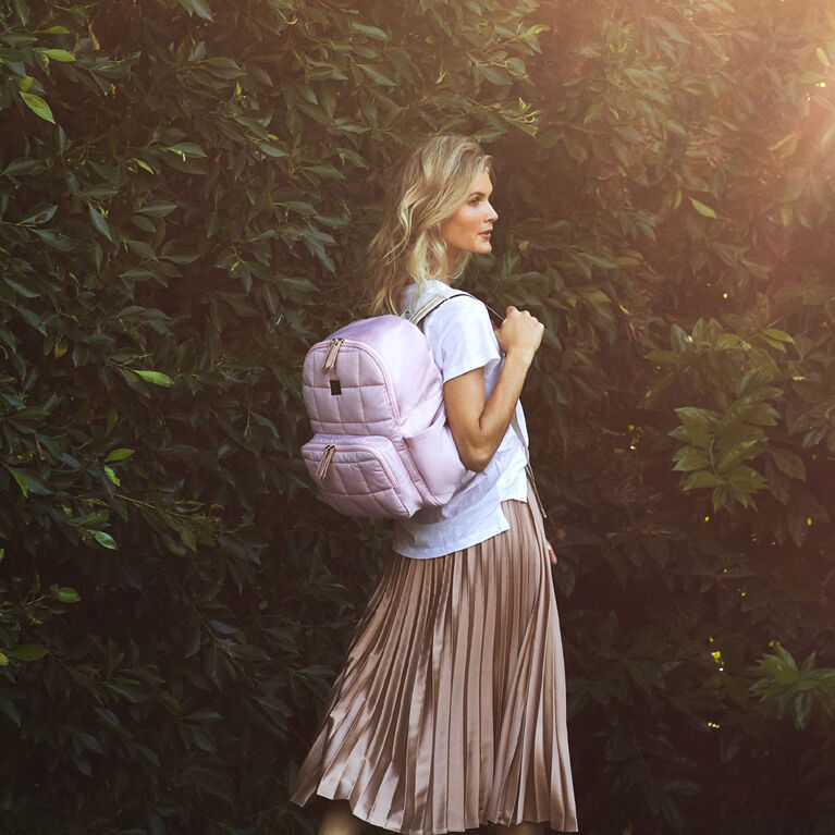 Petunia Pickle Bottom - District Backpack 5 Piece Set in Petal Pink - Quilted Backpack Diaper Bag - Baby, Infant, Toddler - Water Resistant - Antimicrobial Lining - Baby Shower Gift