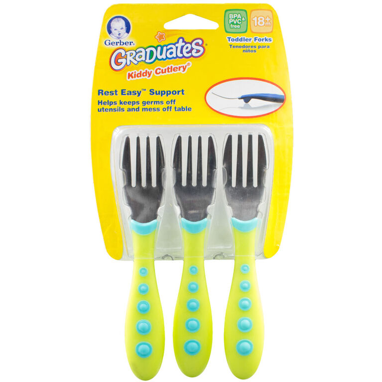 First Essentials by NUK™ Kiddy Cutlery Forks, 3-Pack- Green