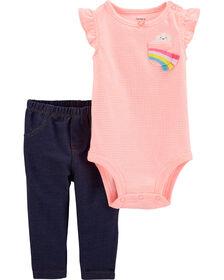 Carter's 2-Piece Rainbow Bodysuit Pant Set - Pink/Blue, 3 Months