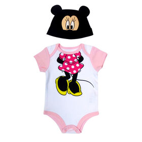 Disney Minnie Mouse 2-Piece Bodysuit and Hat Set - Pink, 3 Months