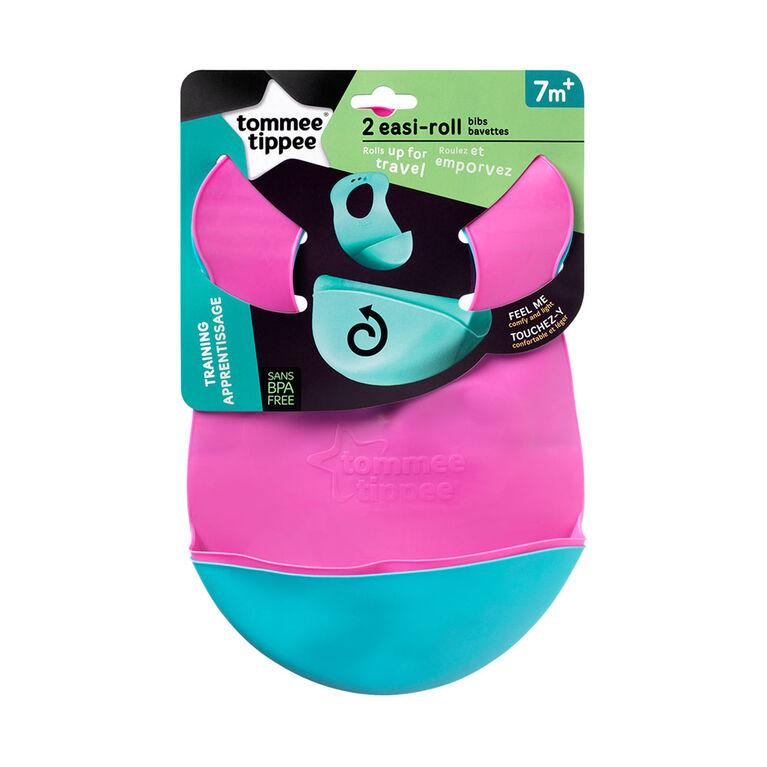 Bavette Easi Roll Explora de Tommee Tippee (paquet de 2) - rose/vert.