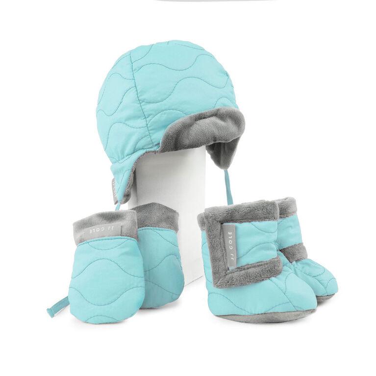 Ensemble avec bonnet style aviateur pour bébé de JJ Cole - 0 à 6 mois - Turquoise.