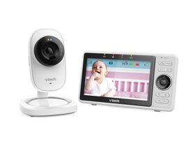 Moniteur vidéo de bébé Wi-Fi de 5 po, avec caméra HD 1080p à vision nocturne automatique et 1 caméra, blanc modèle RM5752 de VTech.