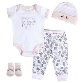 Ensemble de layette en rose pour bébé Baby Essentials, 4 pièces.