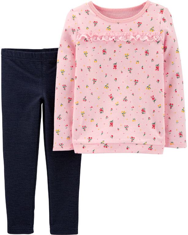 Ensemble 2 pièces haut fleuri et legging en tricot de denim Carter's – rose/bleu, 6 mois