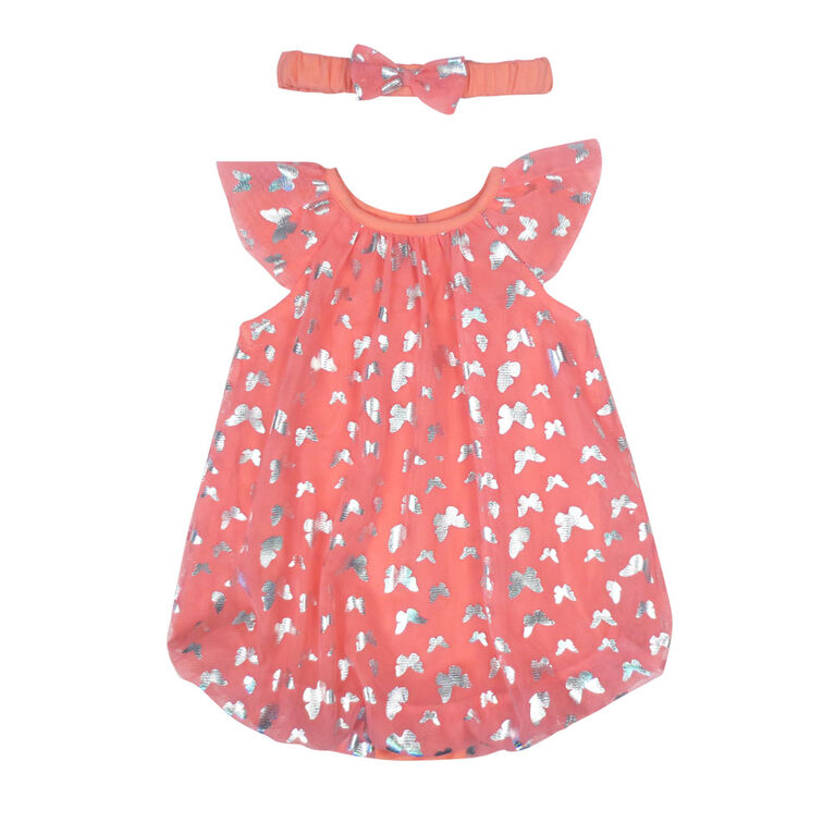 Rococo Bubble Romper with Headband - Pink, 6-9 Months