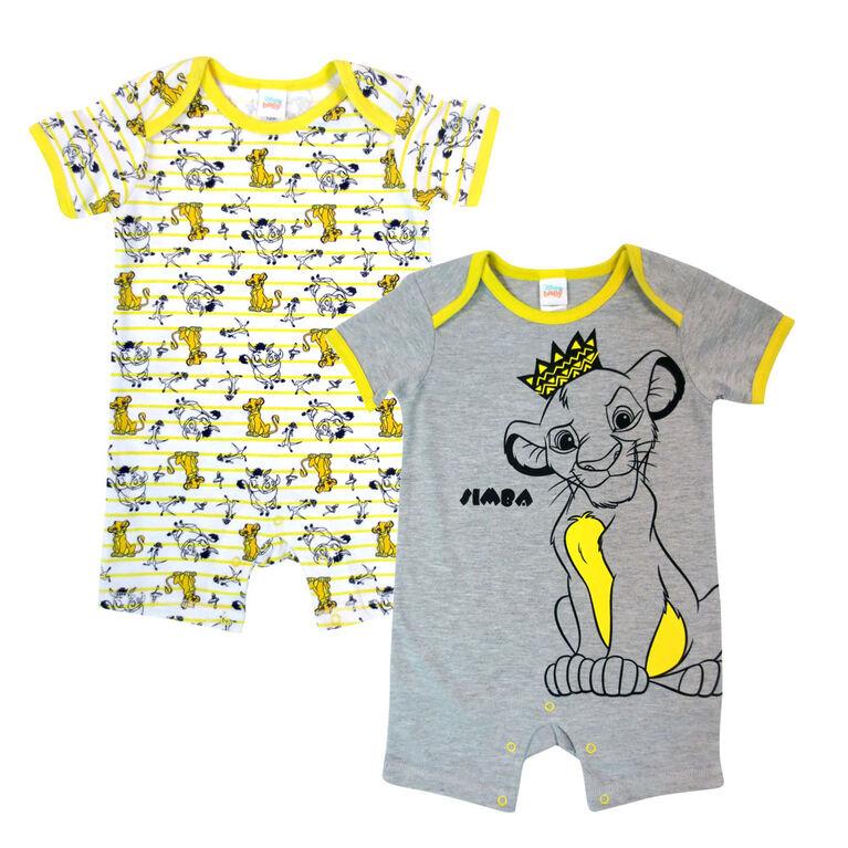 Disney Lion King paquet de 2 barboteuses - gris, 9 mois