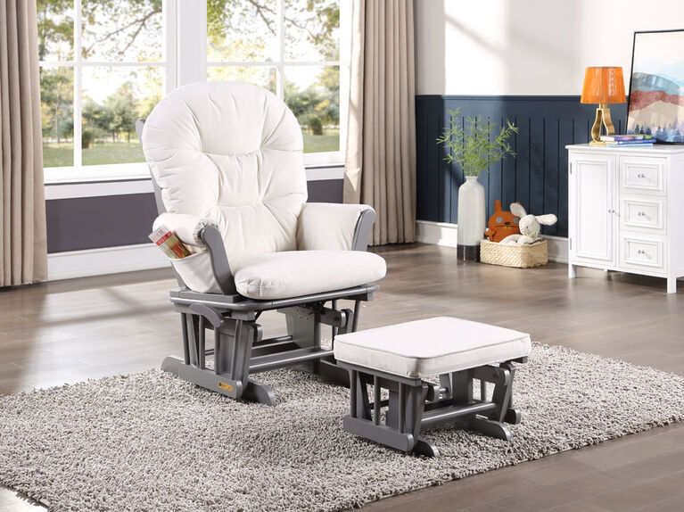 Lennox Valencia Glider Chair and Ottoman - Gray/Cream