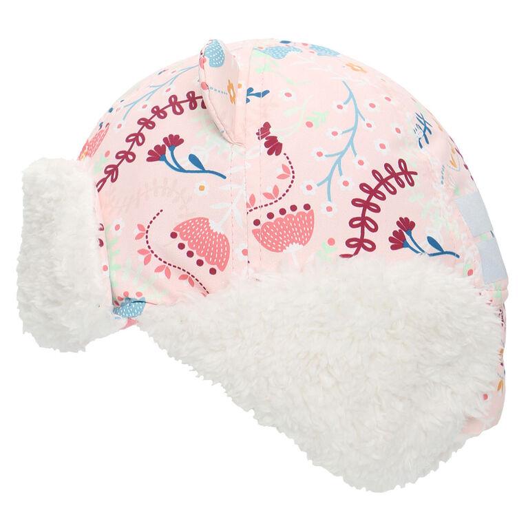 FlapJackKids - bébé, enfant en bas âge, enfants, filles - chapeau de trappeur hydrofuge - doublure Sherpa - rose fleuri - grand 4-6 ans