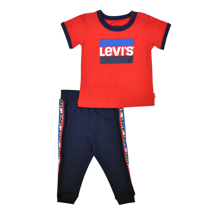 Levis Top and Jog Pant Set - Red, 3 Months