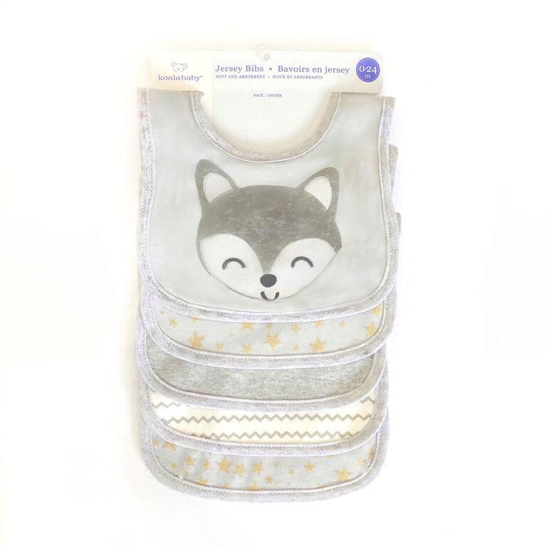 Bavoirs Koala Baby Jersey - Renard - Paquet de 5 - Gris
