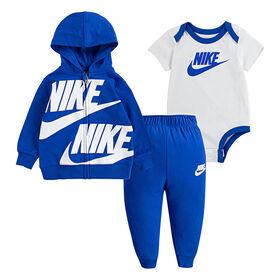 Nike 3Pc Set Pant Set - Royal Heather W White, Size 18 Months