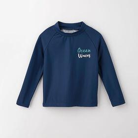 surf's up long-sleeve rashguard, 5-6y - dark blue