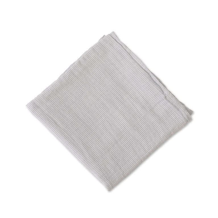 Red Rover - Cotton Muslin Swaddle Single - Grey Micro Stripe - R Exclusive