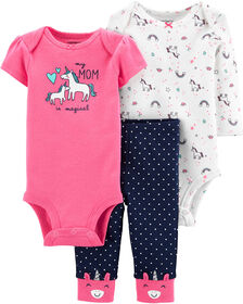 Carter's 3-Piece Unicorn Little Character Set - Pink, 3 Months