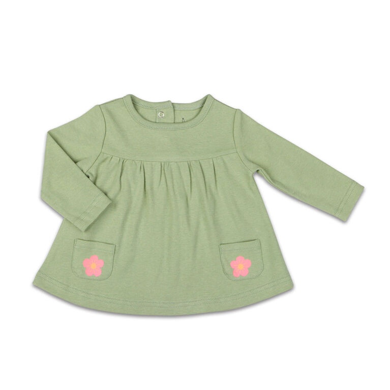 The Peanutshell Baby Girl Layette Mix & Match Sage Flower Long Sleeve Shirt with Pocket - Newborn