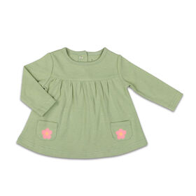 The Peanutshell Baby Girl Layette Mix & Match Sage Flower Long Sleeve Shirt with Pocket - 12-18 Months