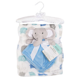 Baby's First By Nemcor 2 Piece Set- Elephant with Blue Elephant Design Blanket