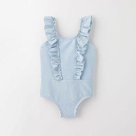 ruffle swimsuit, 9-12m - light blue stripe