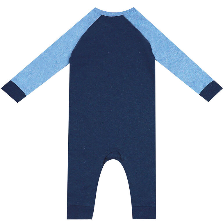 earth by art & eden - Nate Animal Pocket Coverall - Navy Heather, Newborn