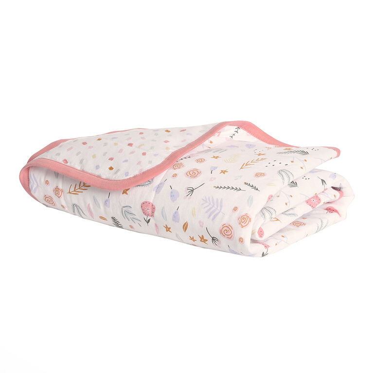 Baby's First by Nemcor Quilted Cotton Jersey Blanket, Floral