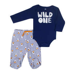 Rococo 2 Piece Footed Pant Set - Blue, 6 Months