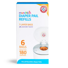 Arm & Hammer Diaper Pail Bag Refills - 180 Count - 6 Pack