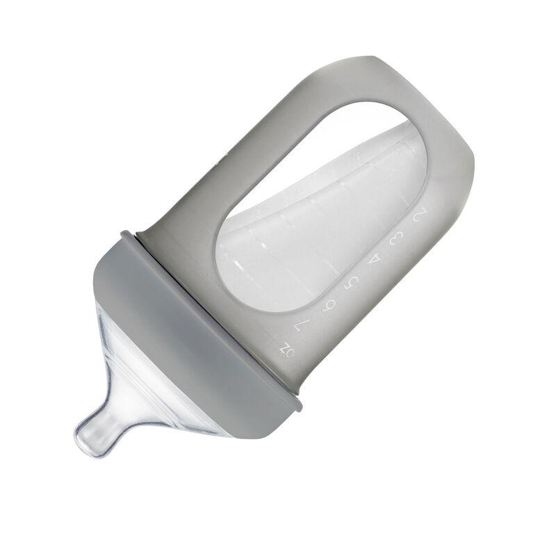 Bouteille de poche en silicone de Boon Nursh 236 ml 3pk gris et blanc.