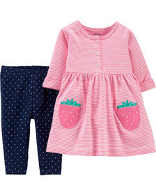 Carter's 2-Piece Strawberry Jersey Dress & Polka Dot Legging Set - Pink/Navy, 12 Months