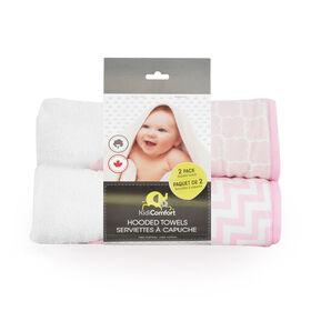 KidiComfort Serviette de bain à capuche - paquet de deux rose - Styles variées.