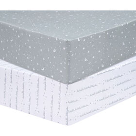Sammy and Lou Celestial 2 Pack Microfiber Fitted Crib Sheet