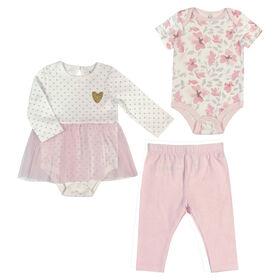 Rococo 3 Piece Bodysuit, Cupcake Dress and Legging Set - Pink, 3 Months