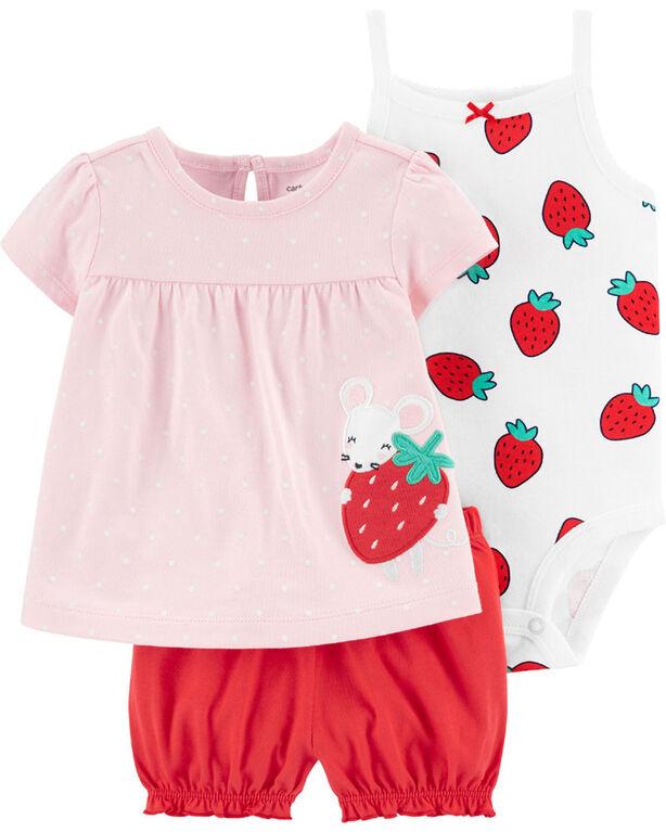 Carter's 3 piece Diaper Cover Strawberry Set - 3-6 Months