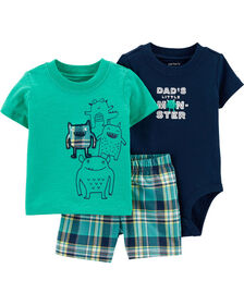 Carter's 3-Piece Monster Diaper Cover Set - Turquoise/Navy, 12 Months