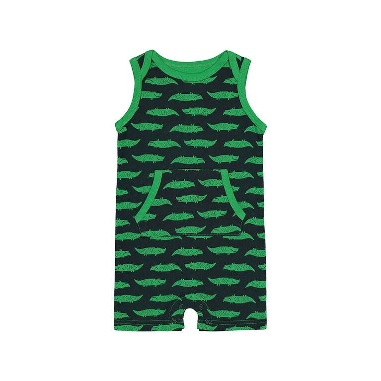 Snugabye Garcons - Barboteuse sans manches avec poche kangourou - crocodile bleu marine et verte 6-9 mois