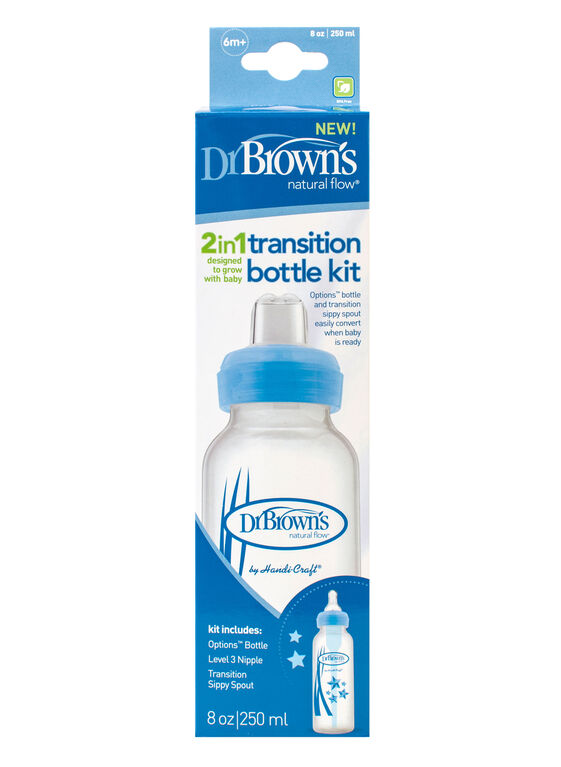 Dr. Brown's 8 oz. 2-in-1 Transition Narrow Bottle Kit – Blue