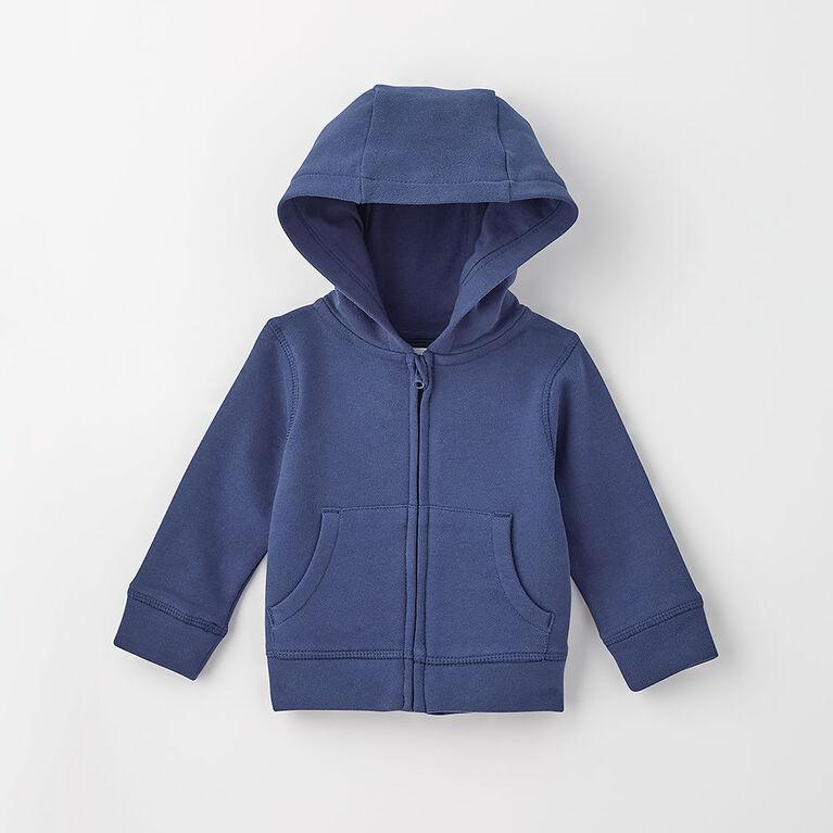 zip happy hoodie, 3-6m - dark blue