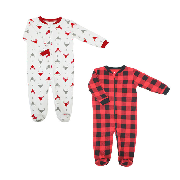 Koala Baby Boys 2 Pack Sleeper - Buffalo Plaid Red, 6 Months