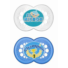 MAM Sayings Silicone Pacifier French Edition 6+ Champion