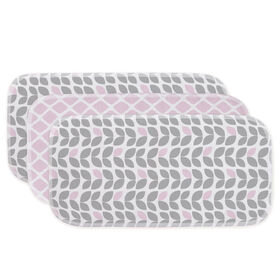 Kushies Baby Burp Pads Flannel 3-Pack - Pink/Grey