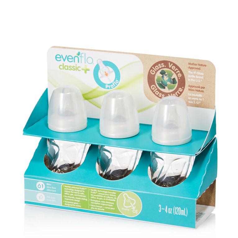 Biberons ventilés en verre teinté Evenflo de 4 oz, emballage de 3.