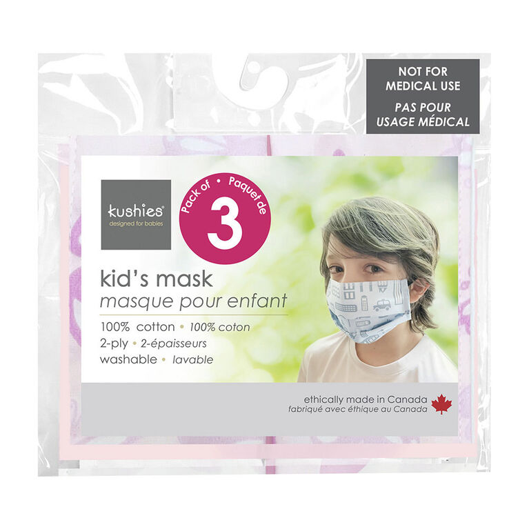 Kushies Kids' Mask 3 Pack - pink