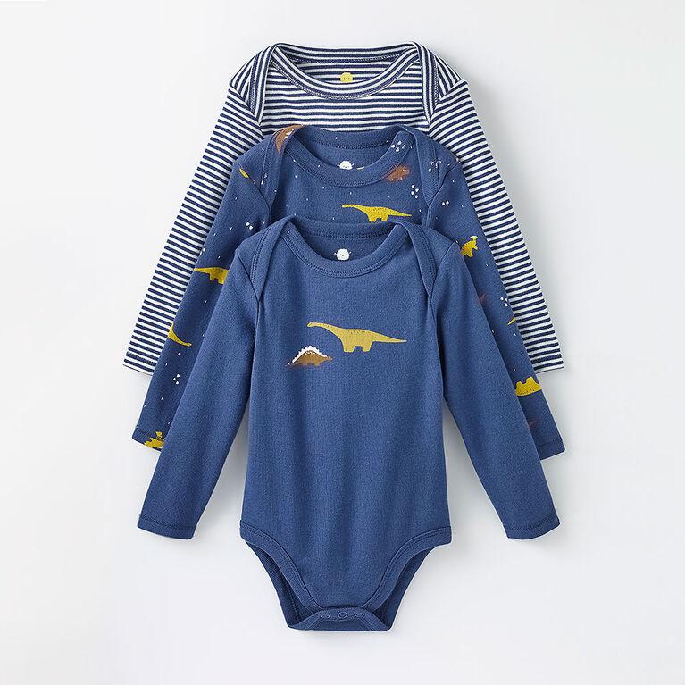 long-sleeve bodysuit 3-pack, 0-3m - light blue