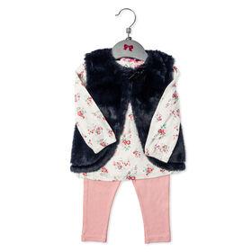 Mini Moi - Girls 3 Piece Vest Set: Floral - 3-6 Months