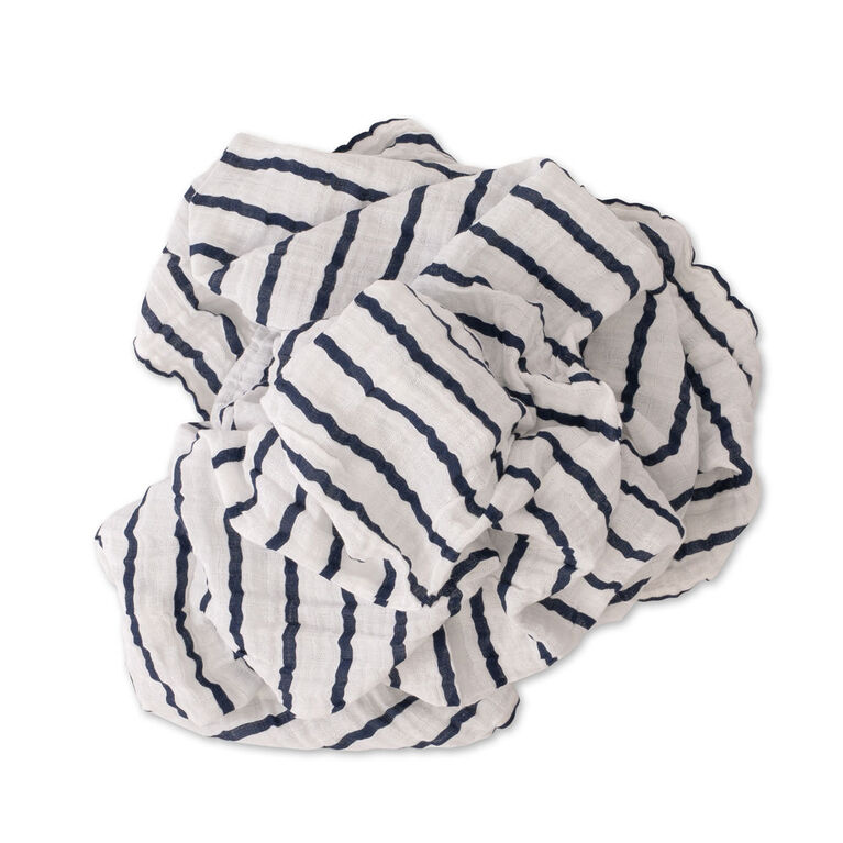 Swaddle Coton Mousseline Simple Red Rover - Navy Stripe