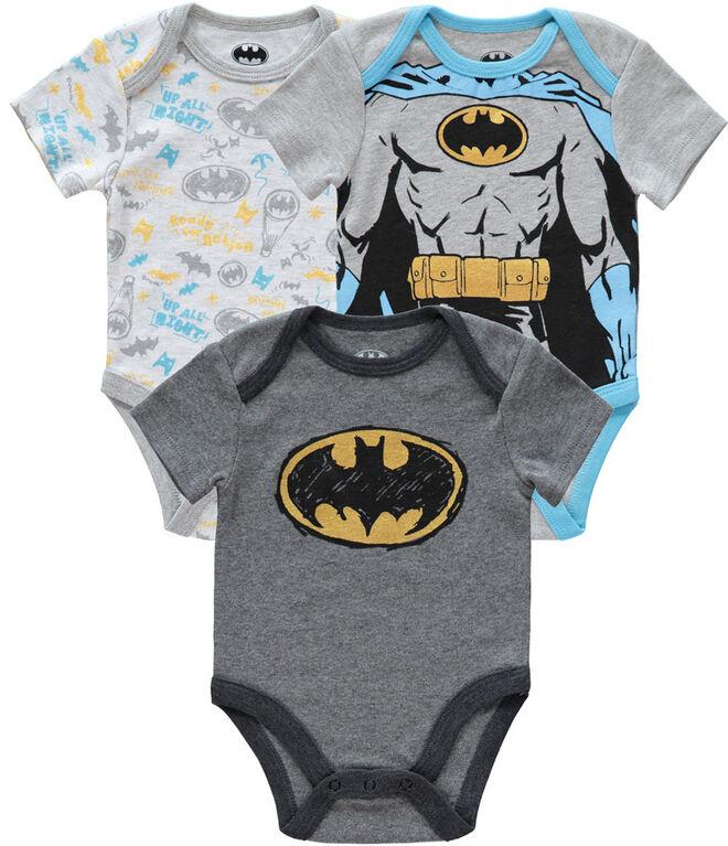 Batman Newborn 3 Pack Bodysuit 6-9M Grey
