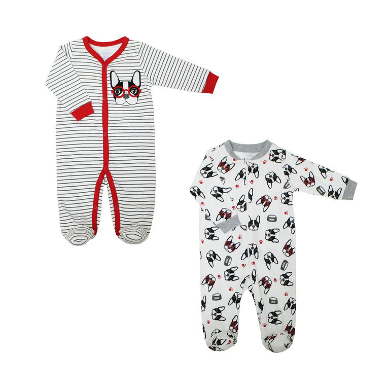 Koala Baby Boys 2 Pack Sleeper - French Bulldog, Newborn
