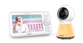 VTech Moniteur vidéo numérique de bébé de 5 po avec veilleuse - VM5254, blanc