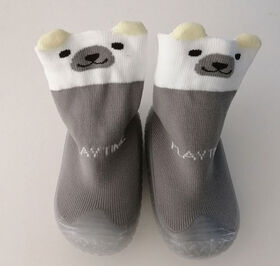 Tickle toes - Clear Sole & Grey Socks 3D Ears Bear Skids Proof Shoes 12-18 Months