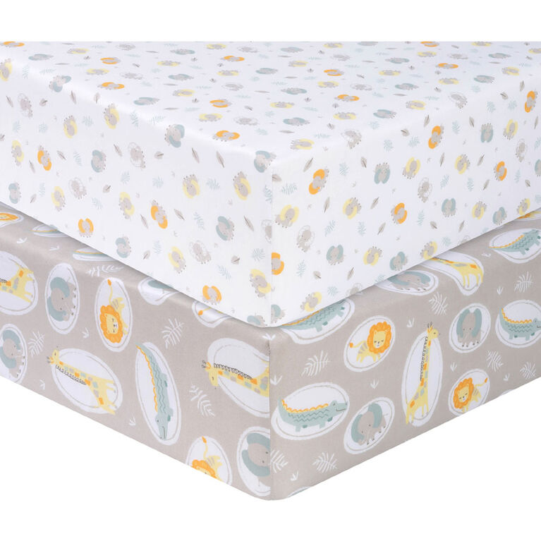Sammy and Lou - Jungle Pals 2Pk Microfiber Fitted Sheets
